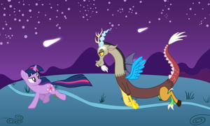 Discord and Twilight running in the night! by MLPRainbowFantasy