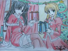 X-mas from Rin and Saber XD by chevalier16