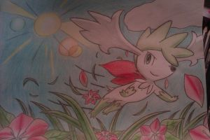 Shaymin over the flowers ^^ by Adripika