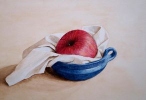 Apple in blue dish by Itherin