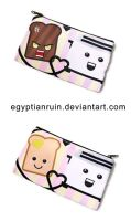Happy Bread Angry Toast Zipper Pouch by egyptianruin