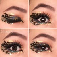 Abstract blue and gold glitter makeup  by Ciyradyl
