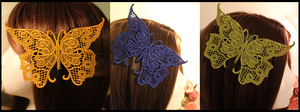 Lace Butterfly Hair Clips by Miss-Star-Bucket