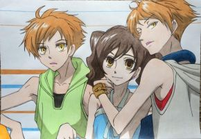 Hitachiin Twins and Haruhi by Karina-o-e