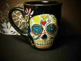 Day of the Dead Sugar Skull Mug - for sale by InkyDreamz