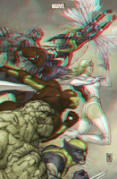 X-Men and the Marvel Heroes in 3D Anaglyph by xmancyclops