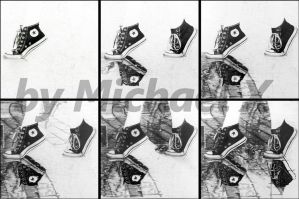 WIP - pencil drawing - shoes in the rain by byMichaelX