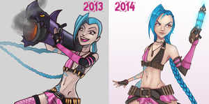 Progress Comparison: Jinx! by xXLushieXx