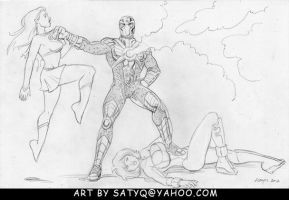 Supergirl and Power Girl subdued by Reactron by SatyQ