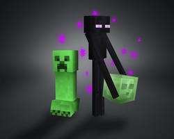 Enderman and his green mates by Ktostam25