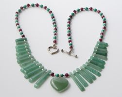 Silver, Aventurine, Malachite and Garnet Necklace by bibliophile20