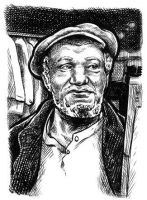 Redd Foxx sketch card by dalgoda7