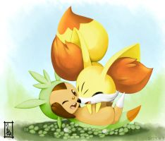 Chespin and Fennekin by PixivAlt