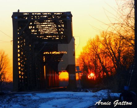 Sunset  Des Moines River RR Bridge by Oneeyecat