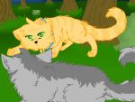 Rusty and Greypaw by deamonwolf20