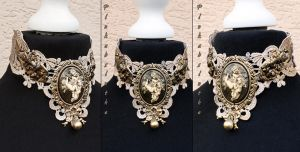 Winged cherub cameo collar by Pinkabsinthe