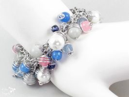 Pink and Blue Shaggy Bead Bracelet by ASilverDragonfly