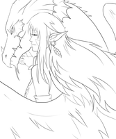 Lineart_Eternal Fate_Ildragah_And_Asthar by SoulOfPersephone
