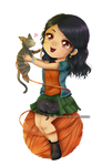 With cats- chibi commissions by Solceress