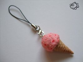 Big Ice Cream Charm 6 - Strawberry by FunkadelicPsychoFish