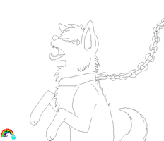 .Chained Wolf Base. by Fireyami
