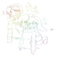 Links, Master Ezlo and Nao by naochandoodles