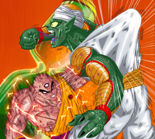 Tenshin sparring Piccolo rosat by MysticErlangShen