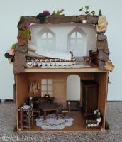 Fairy Dollhouse with flowers - outside back by RevelloDrive1630