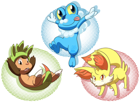 Pokemon Gen VI Starters by RainbowFilled