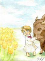 A boy and his buffalo by gohe1090
