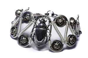 Steampunk Bracelet Scarab SLV by CatherinetteRings