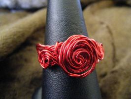 twisted wire rose ring by BacktoEarthCreations