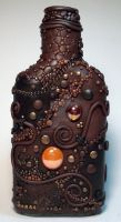 Polymer clay flask back view by MandarinMoon