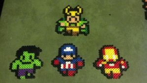 Super hero perler pins and magnets by hyliacupcake