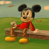 Mickey and his coffee! by Mitzy-Chan