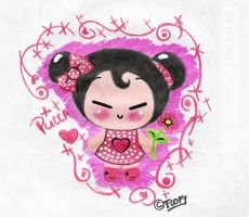 Pucca with pencils by FlopyLopez