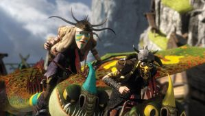 HTTYD 2: Tuffnut and Ruffnut flying by Lifelantern