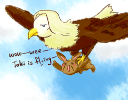 Toki is flying by howzih