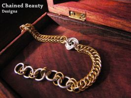 Brass and Silver Rose Bracelet by ChainedBeauty
