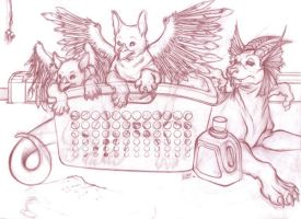 Griffins in a Laundry Basket by ShadowPhoenixStudios