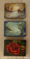 3 TINY ACRYLIC PAINTINGS by MrsGraves