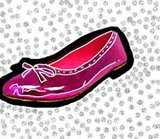 Pink Flat Shoe paint by Maellanie