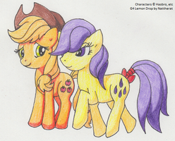 Lemon Drop + Applejack for En by SamCyberCat