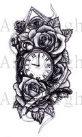 Pocket Watch and Roses by tattoosbyashleigh