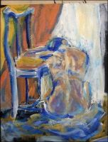 Woman Rests Head on Chair by pinkililli