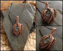 Raw Blue Opal and Reclaimed Copper wrapped Pendant by tuskandclaw