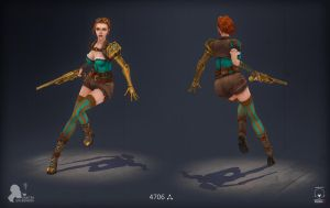 Steampunk girl front back by DmitryGrebenkov