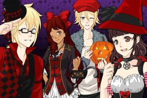 Halloween with len, kazumi, delta, and asuka by XxlovelyyanderexX