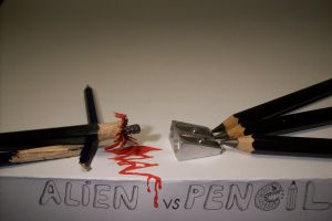 Alien vs Pencil by cerkahegyzo
