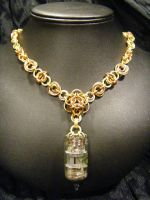 steampunk tube maille necklace by BacktoEarthCreations